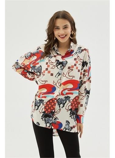 Pattaya Pattaya Kadın Oversize Viskon Uzun Kollu Gömlek P21S201-2260 Renkli
